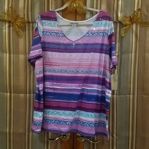 Striped V-neck with a Little bling NWT
